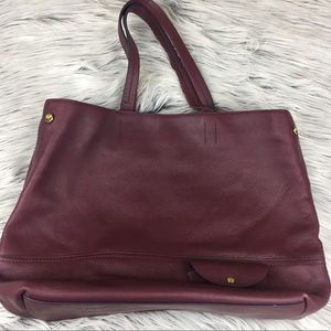 J Crew All Day leather tote Cabernet